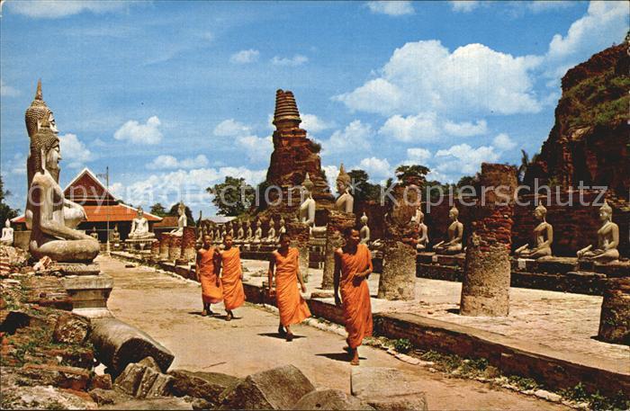 Postkarte Carte Postale Ayuthaya Four Thai Buddhists Priests and the Ruins of Wat Temple jai chai mongkhol