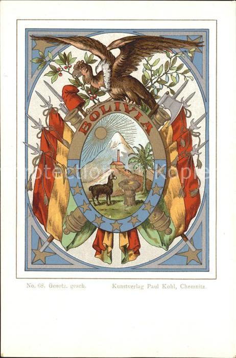 Postkarte Carte Postale Bolivien Wappen Künstlerkarte No. 68 Paul Kohl   [ ]   Postkarte Carte Postale Bolivien Wappen Künstlerkarte No. 68 Paul Kohl Wappen Künstlerkarte No. 68 Paul Kohl Alte Ansichtskarte Postkarte