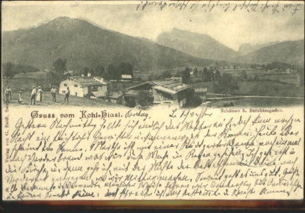 Postkarte Carte Postale 40463571 Berchtesgaden Berchtesgaden Schoenau Kohl - Hiasl x 1903 Berchtesgaden   [ ]   Berchtesgaden Schoenau Kohl - Hiasl x 1903 Alte Ansichtskarte Postkarte 1903 postalisch gelaufen