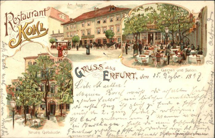 Postkarte Carte Postale 40647747 Erfurt Erfurt Restaurant Kohl Anger x Erfurt   [ ]   Erfurt Restaurant Kohl Anger x Alte Ansichtskarte Postkarte 1897 postalisch gelaufen