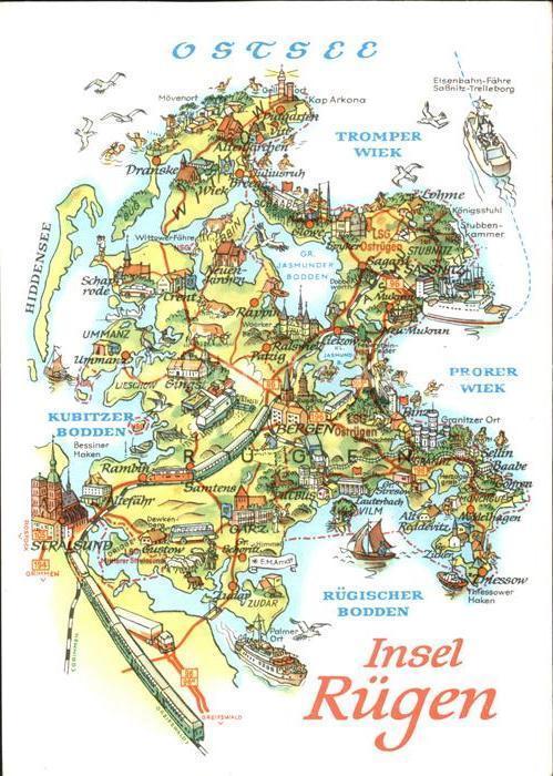 Karte Rügen.Landkarte Ruegen Zvab