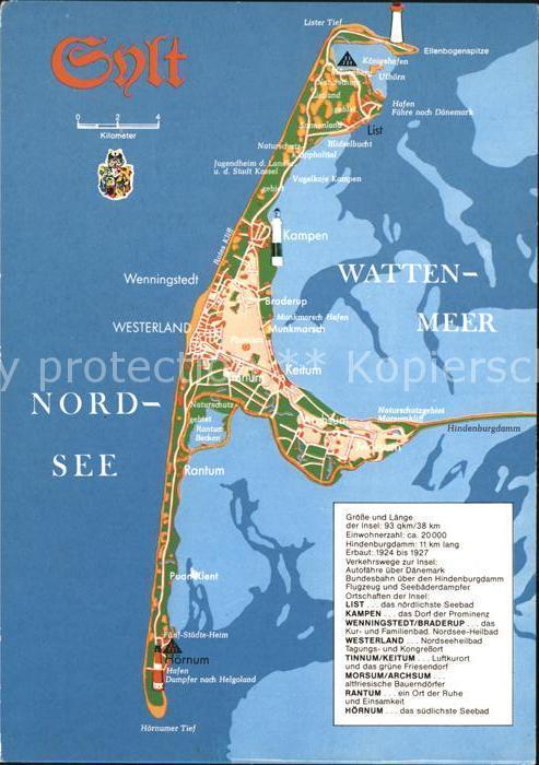 Karte Von Sylt.Postkarte Carte Postale 42066846 Sylt Karte