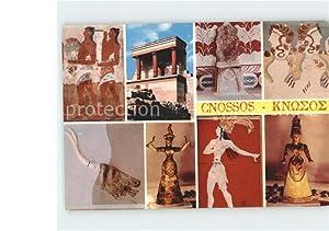 Postkarte Carte Postale Cnossos Kreta Wandmalerei Statue