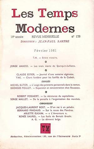 Les Temps Modernes : 16e année, numéro