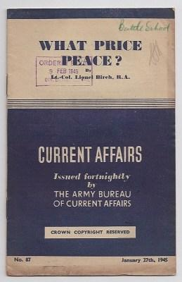 CURRENT AFFAIRS : issue 87 : January: Birch, Lt.-Col. Lionel,