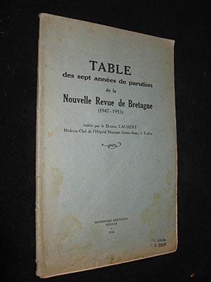 Table des sept années de parution de la Nouvelle Revue de Bretagne (1947-1953): Docteur Laurent
