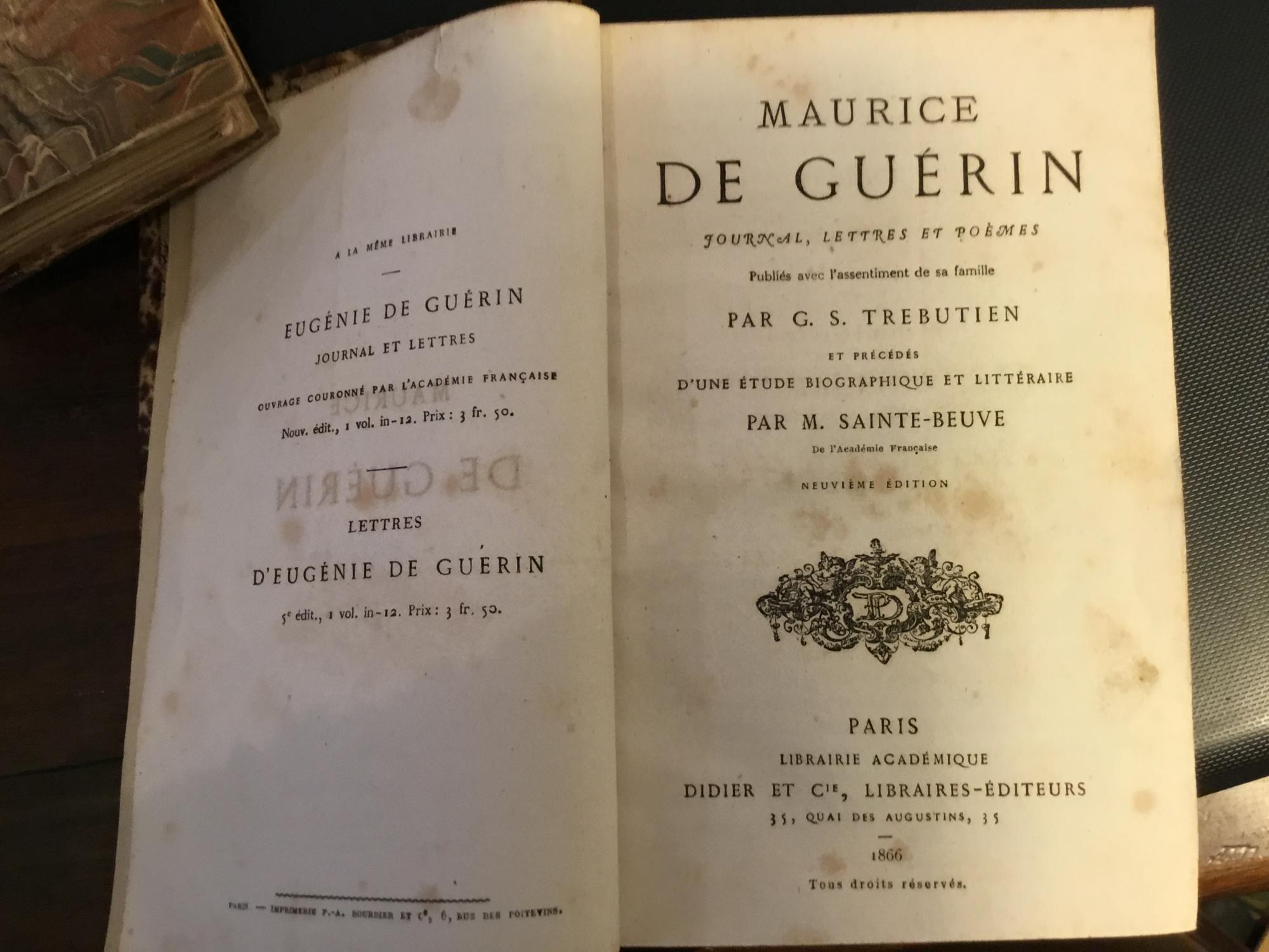 Maurice De Guérin Journal Lettres Et