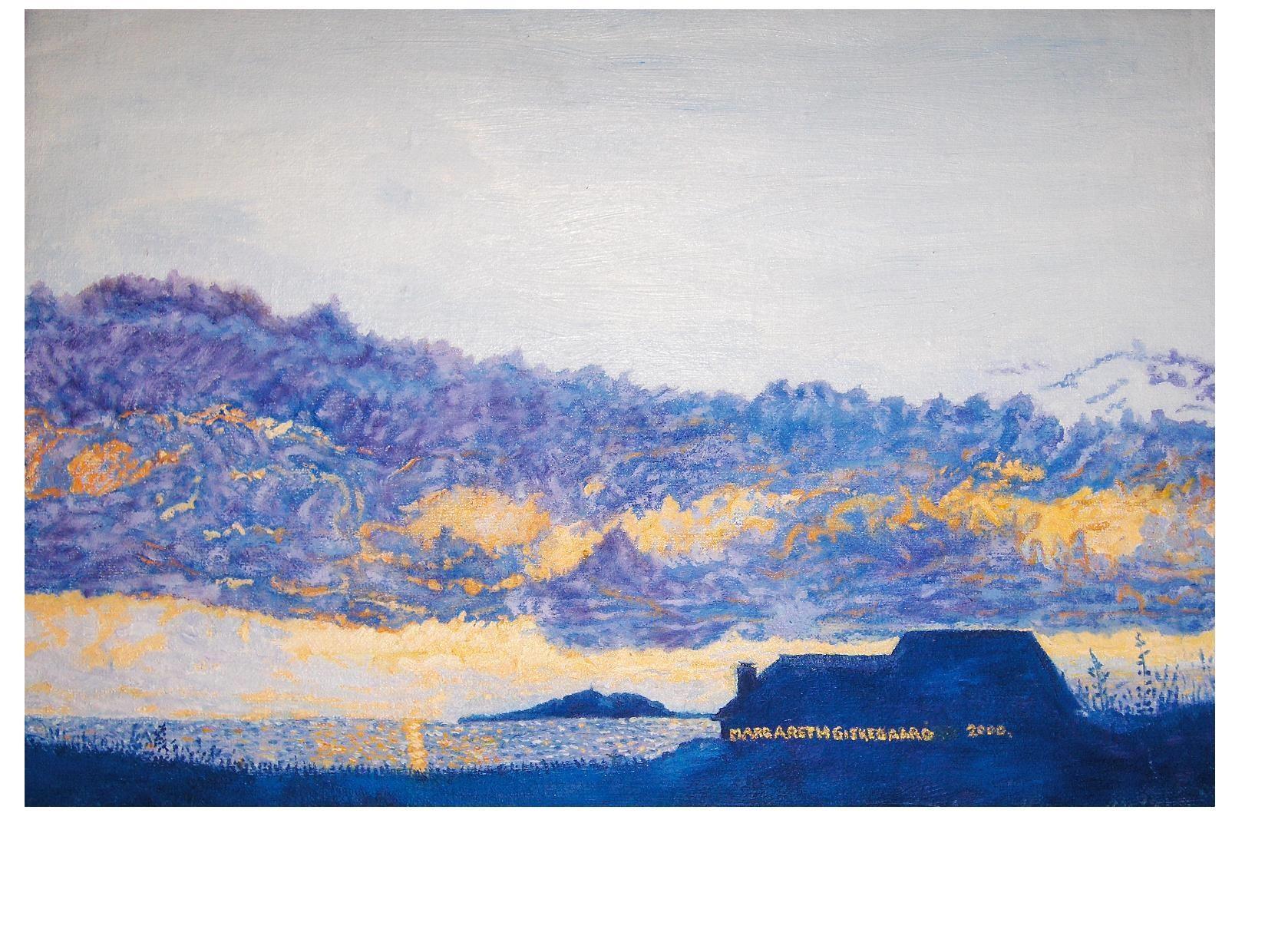 Lighthouse in sunset,original oil paint