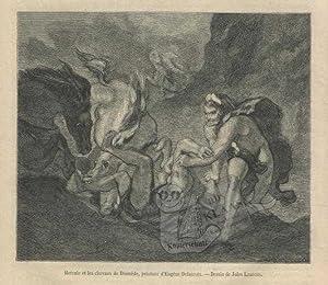 Hercule et les chevaux de Diomede, peinture: Delacroix, Eugene; Laurens,