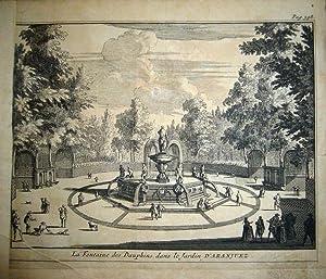 La Fontaine des Dauphins dans le Jardin d'Aranjuez. De la obra: Les Delices de l'Espagne ...