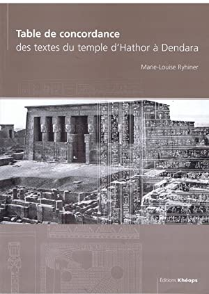 Table de concordance des textes du Temple: Marie-Louise Ryhiner