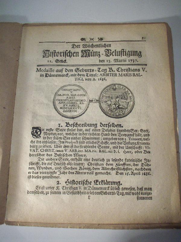 Der Wöchentlichen Historischen Münz-Belustigung. 11. Stück, den: Köhler, Johann David):