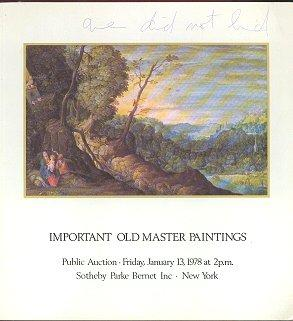 Important Old Master Paintings, Sale 4068 (January 1978)