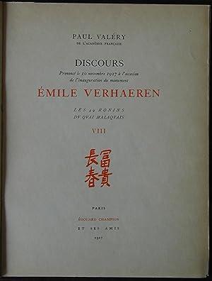 Discours sur Emile Verhaeren: VALERY, Paul