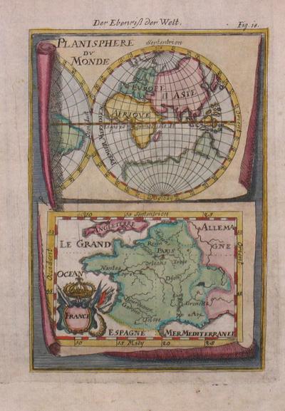planisphere du monde der eberiss der welt von mallet alain manesson 1630 1706 paris artist. Black Bedroom Furniture Sets. Home Design Ideas