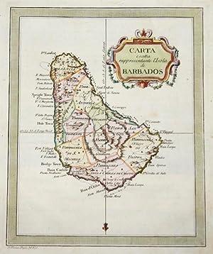 Carta e satta rappresentante l'Isola di Barbados: Rossi Veremondo (1627