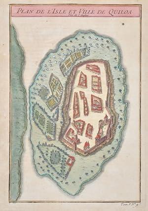 Plan de l'Isle et Ville de Quiloa: Bellin Jacques Nicolas
