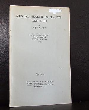 Mental Health in Plato's Republic. Dawes Hicks: A J P