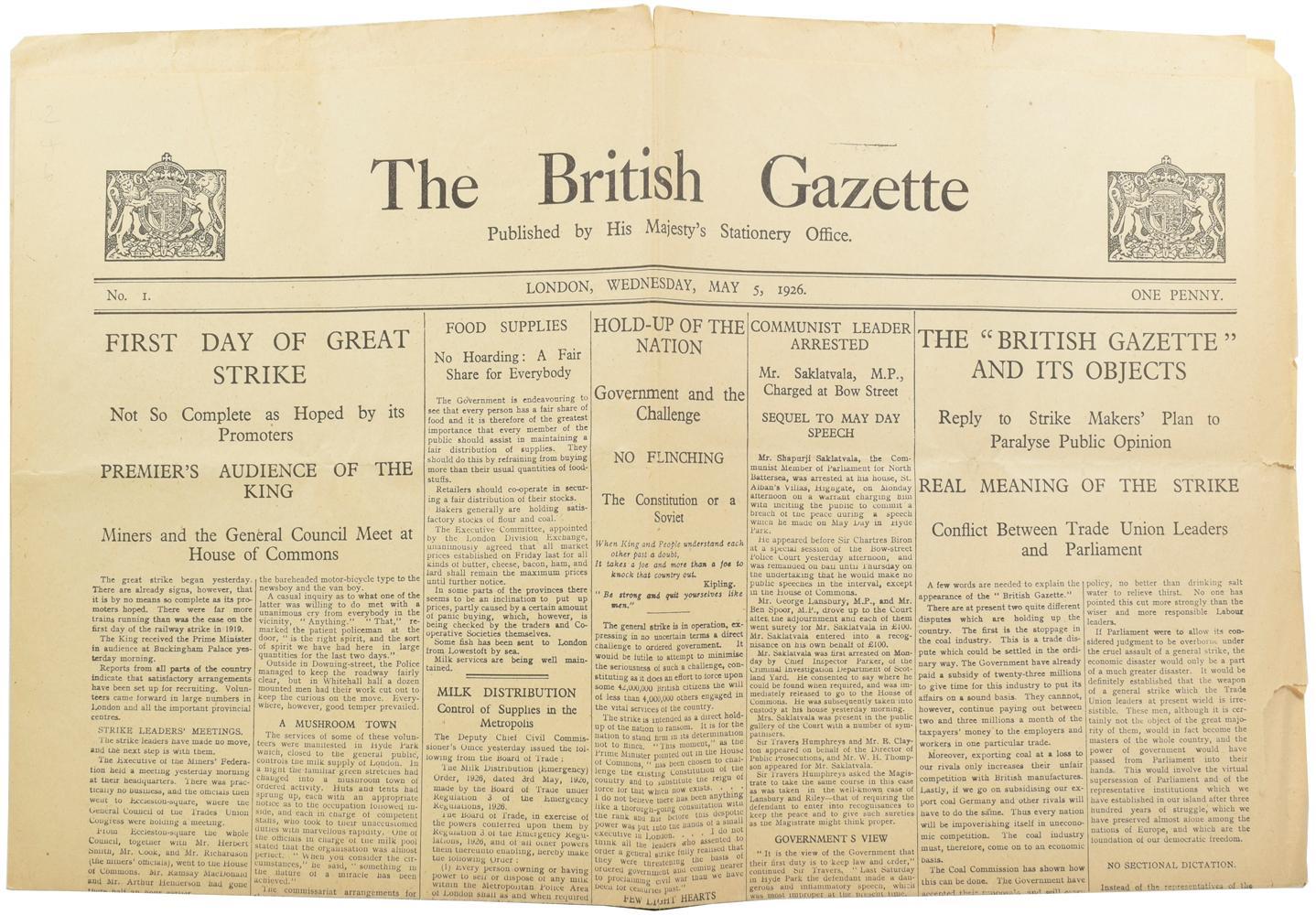 The British Gazette: CHURCHILL, [Sir] Winston