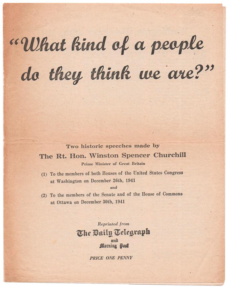 What kind of a people do they: CHURCHILL, [Sir] Winston