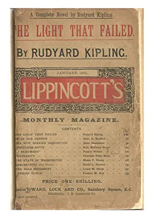 The Light That Failed. [in] Lippincott's Monthly: KIPLING, [Joseph] Rudyard