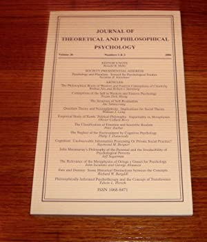 Journal of Theoretical and Philosophical Psychology Vol 26 Numbers 1 & 2 2006