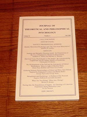 Journal of Theoretical and Philosophical Psychology Volume 25 Fall 2005