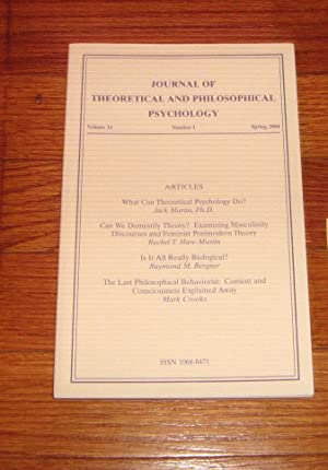 Journal of Theoretical and Philosophical Psychology Volume 24 Spring 2004