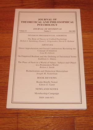Journal of Theoretical and Philosophical Psychology Volume 21 Fall 2001