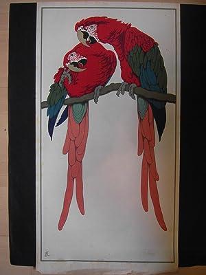 Paar rote Aras auf Cremé, auf Ast: Fritz Lang (1877