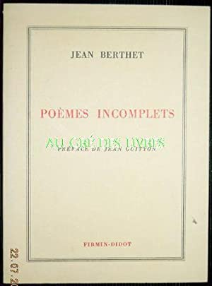 Poèmes incomplets 1926-1971, in-12, br, 111 pp