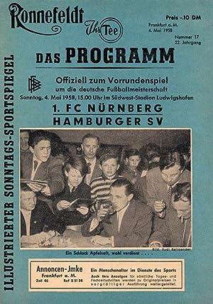 Gruppenspiel zur Deutschen Meisterschaft Hamburger SV - 1.FC Nürnberg am 4.5.1958 in ...