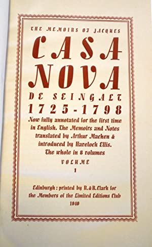 THE MEMOIRS OF JACQUES CASANOVA (THE MEMOIRS OF JACQUES CASA NOVA)