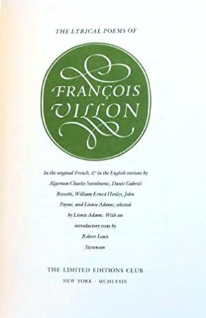 THE LYRICAL POEMS OF FRANCOIS VILLON