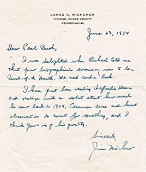 AUTOGRAPH LETTER SIGNED from James Michener to Pearl Buck
