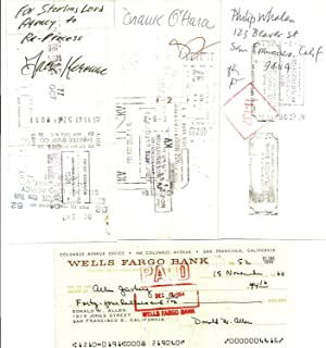 COMPLETE SET OF 44 ROYALTY CHECKS, ALL: KEROUAC, Jack; O'HARA,