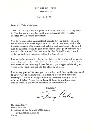 TYPED LETTER SIGNED (TLS) as President to the Prime Minister of Italy
