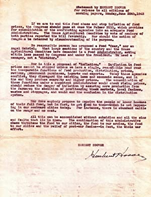 DOCUMENT SIGNED (DS): Statement by HERBERT HOOVER for release to all editions of morning papers