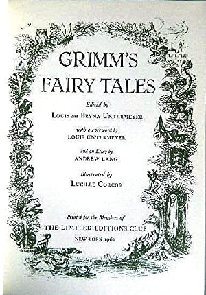 THE COMPLETE HOUSEHOLD TALES OF JAKOB AND WILHELM GRIMM IN FOUR VOLUMES [GRIMM'S FAIRY TALES]