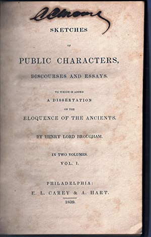 SKETCHES OF PUBLIC CHARACTERS, DISCOURSES AND ESSAYS: SIGNED by the author of