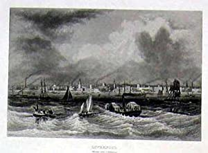 Liverpool, Ansicht der Stadt vom Meer ausgesehen.: GROSSBRITANNIEN: