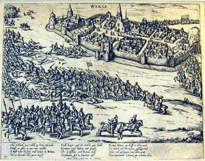 Gesamtansicht aus der Vogelschau mit der Vertreibung Schenks am 17.3.1586.: WERL: