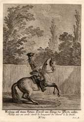 """Redopp auf einem kleinem Circul von Laenge des Pferds rechts . Bl.31 aus """"kleine Reitschule&#34..."""