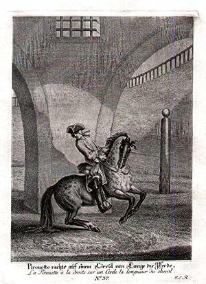 """Pirouette rechts auf einem Circul von Laenge des Pferds. Bl.37 aus """"kleine Reitschule"""".: ..."""