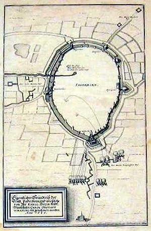 Befestigungsplan mit Belagerung.: PADERBORN: