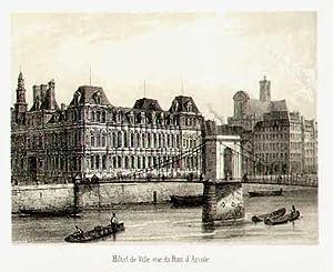 Hôtel de Ville, vue du Pont d'Arcole.: FRANKREICH: Paris: