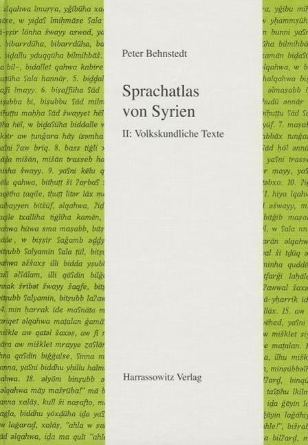 Sprachatlas von Syrien : Band II: Volkskundliche: Peter Behnstedt