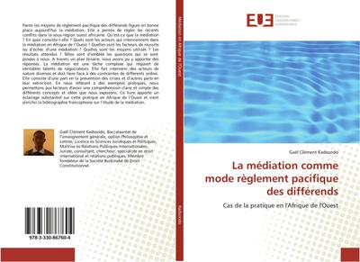 La médiation comme mode règlement pacifique des: Gaël Clément Kadsondo