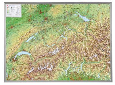 Relief Schweiz 1:500.000 mit Aluminiumrahmen: André Markgraf