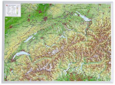 Schweiz 1:1.0MIO: Reliefkarte Schweiz klein Din A3: André Markgraf